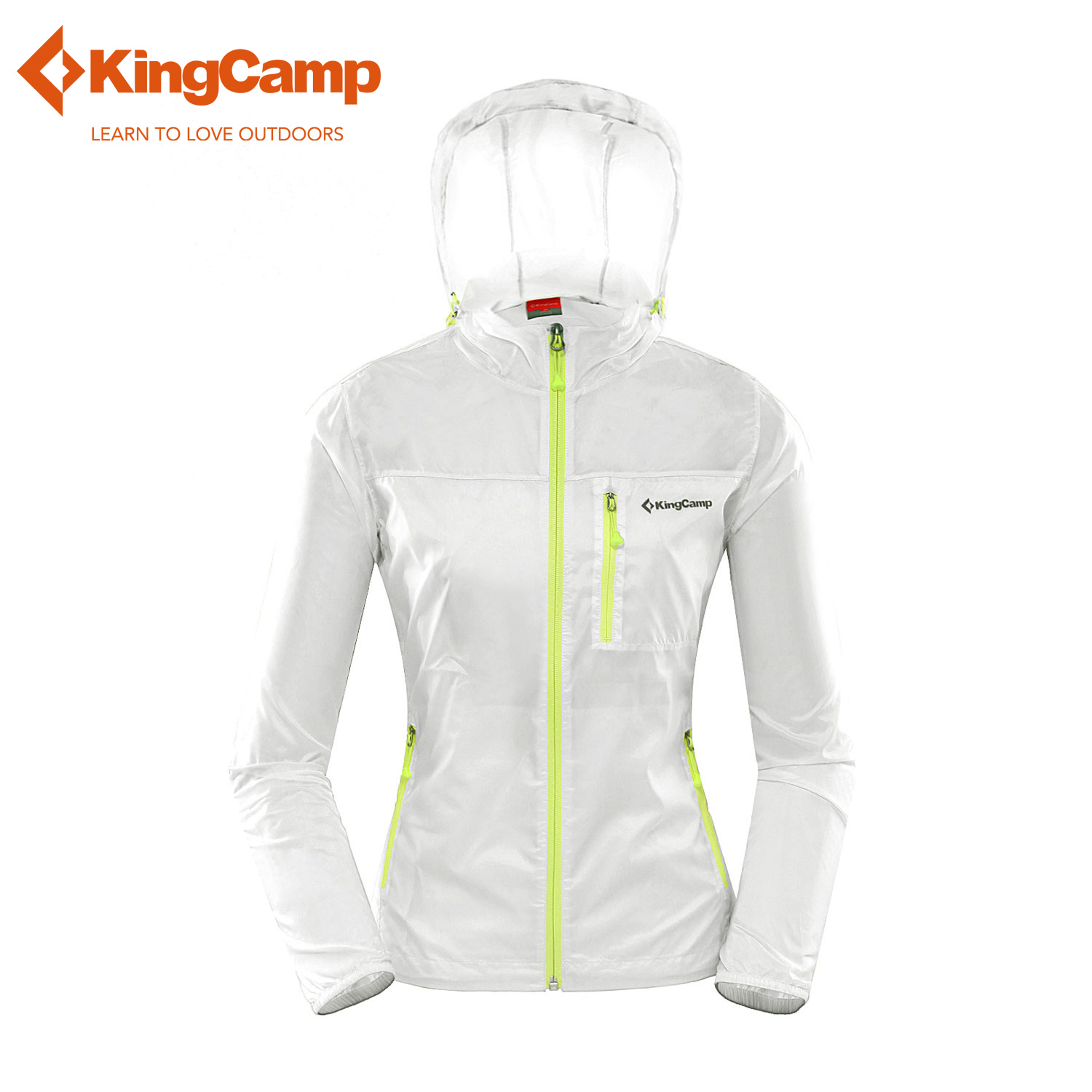 KingCamp Active Outdoor Lightweight Waterproof Front Zip Hooded Jacket Women Cycling Running Sport Easy Carry Wind