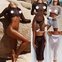 New Fishnet Mesh Bikini Cover Up Long Sleeve Beach T Shirt And Sexy Beach Skirt Hollow Out Bathing Suit Women Beachwear