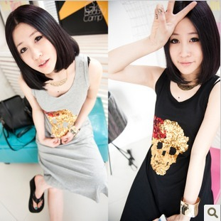 Evidenced 2013 summer fish scale paillette skull design long sleeveless t-shirt 2 419