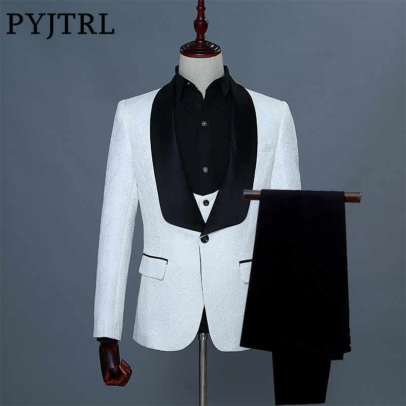 PYJTRL Brand 2018 Three Piece Wedding Fashion Brazer Suit Slim Fit Tuxedos For Men Shawl Lapel White Jacquard Prom Party Wear