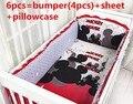 Promoción! 6 unids Mickey Mouse del algodón sistemas del lecho del pesebre para el bebé bebé juegos de cama, incluyen ( bumpers + hojas + almohada cubre )