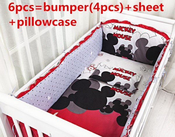 Promotion! 6PCS Cartoon Cotton Crib Bedding Sets For Baby Baby Bedding Sets ,include(bumpers+sheet+pillow cover) pink french toile fitted crib sheet for baby and toddler bedding sets by sweet jojo designs toile print