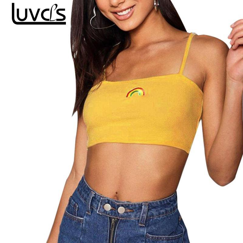 LUVCLS Summer Sexy Female Crop Top Women Sleeveless Straps Tank Top Solid Fitness Sexy Top Lady Casual Yellow Women Summer Tops