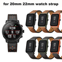 Купить с кэшбэком Smart Watch Leather Bracelet Strap 20/22mm Pulsera Correa Band for Huami Amazfit Bip Lite Stratos 2 Pace for Huawei Watch GT Pro