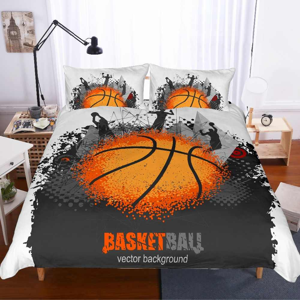 AXIONG Basketball Bedding Set for Boys 3D Sports Enthusiast Basketball Duvet Cover Set Teenagers and Adults Basketball Fan Bedding Set 3Pcs 1 Duvet Cover 2 Pillowcases Twin Full Queen King Size