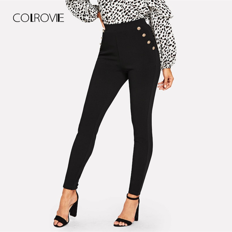 COLROVIE Black Solid Button Detail High Waist Elegant Pant 2018 Streetwear Fashion Skinny   Leggings   Office Ladies Casual Trousers