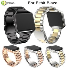 Купить с кэшбэком 23mm Replacement Stainless Steel Wrist watch Band Strap Band For Fitbit Blaze Smart Watch Black For Women Men Watch Accessories