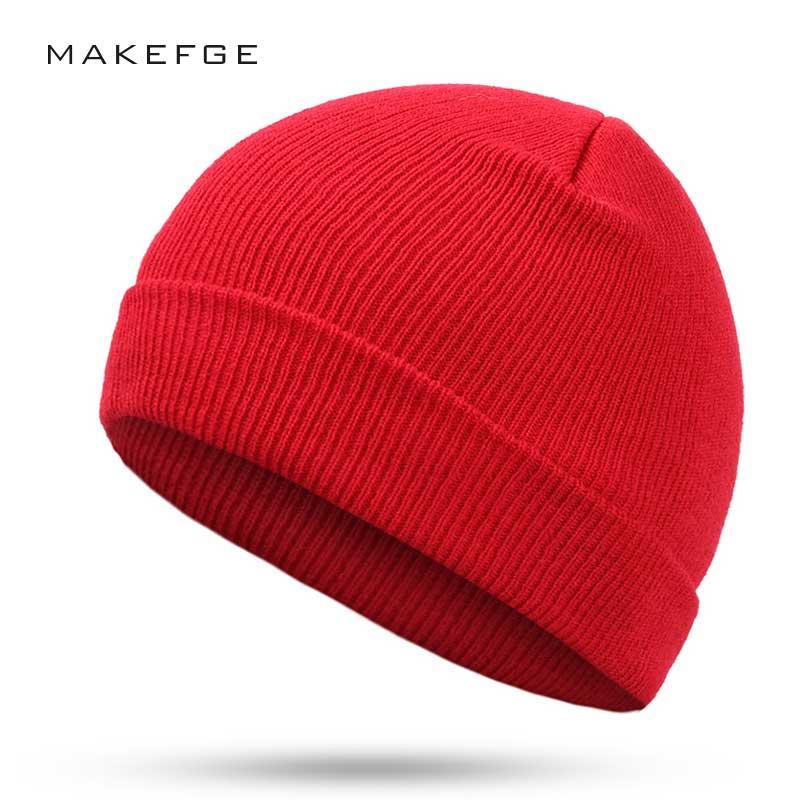 Hot Sales Fashion Winter Hat For Women   Skullies     Beanies   Knitted Hat Female Cap Brand Women   Beanies   Hat Pure Color Headgear