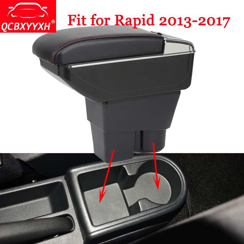 QCBXYYXH Fit For Skoda Rapid 2013-2017 Car-Styling ABS Car Armrest Box Center Console Storage Box Holder Case Auto Accessories hot black armrest storage box storage box armrest center console for honda fit 2014 2015 only fit for low equiped model