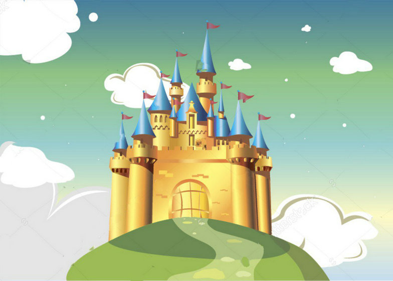 cloud Cartoon princess hogwarts blue castle Bright Background Vinyl cloth High quality Computer print wall backdrops