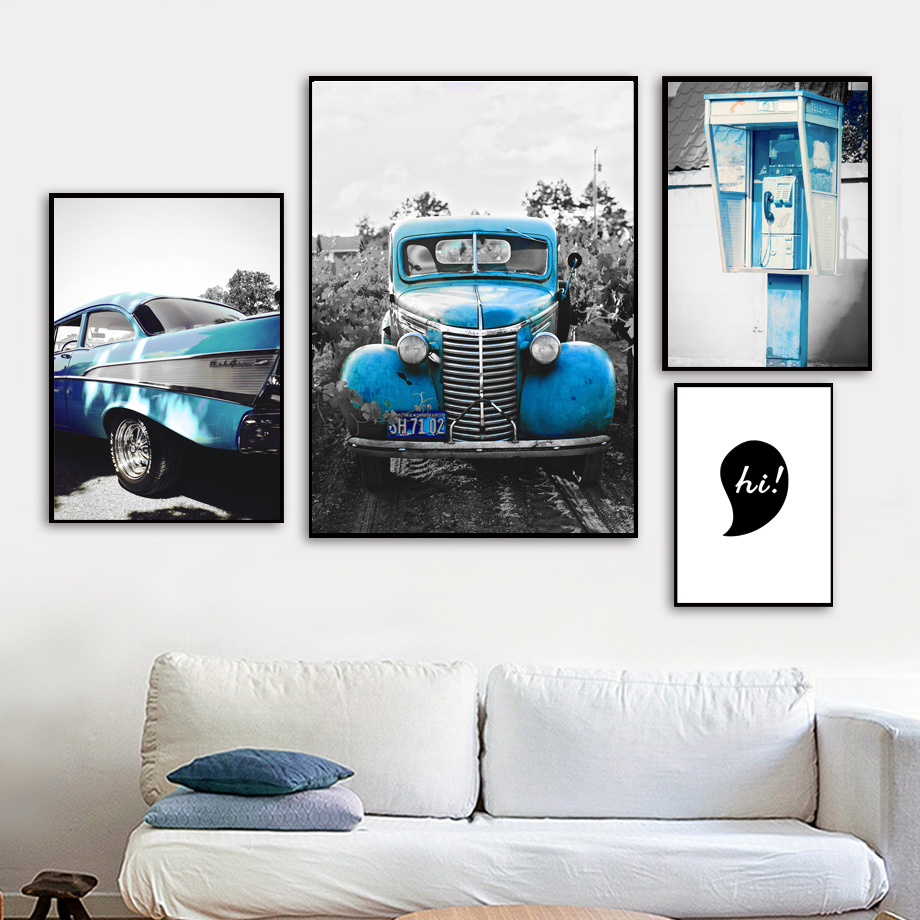 Blue Old Car Call Box Black White View Wall Art Canvas Painting Nordic Posters And Prints Pictures For Living Room Decor