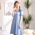 New South Korea sweet female short sleeved skirt in summer dress suit Home Furnishing female thin cotton pajamas nightdress