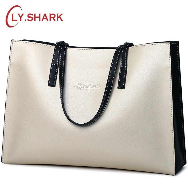 ¡LY! tiburón de cuero genuino de la marca de bolsos de las señoras de bolso de hombro Bolsa de bolsos de las mujeres bolsos de diseñador Bolsa femenina de gran tamaño Bolsa-in Cubos from Maletas y bolsas    1