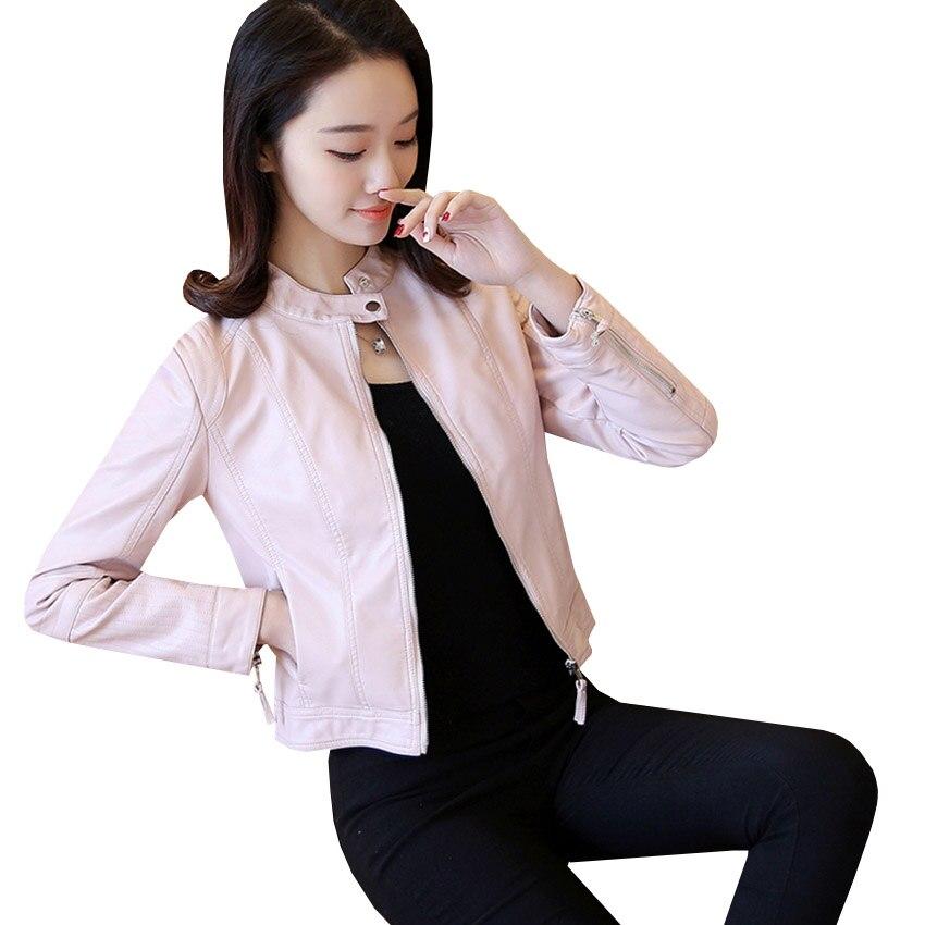 Sf452 En Noir Solides Outwear Manteau Moto Zipper Cuir Courts Casual Slim Femmes Manteaux Veste Printemps Automne rose Nouveau Mode Pu TACq11