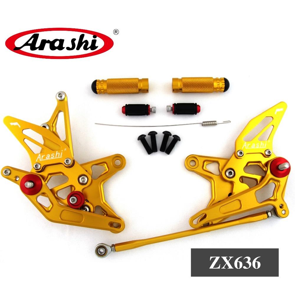 Arashi For KAWASAKI NINJA ZX6R Rearset Adjustable Footrest Foot Peg Rear Set ZX-6R ZX636 ZX 636 2009 2010 2011 2012 2013 2014