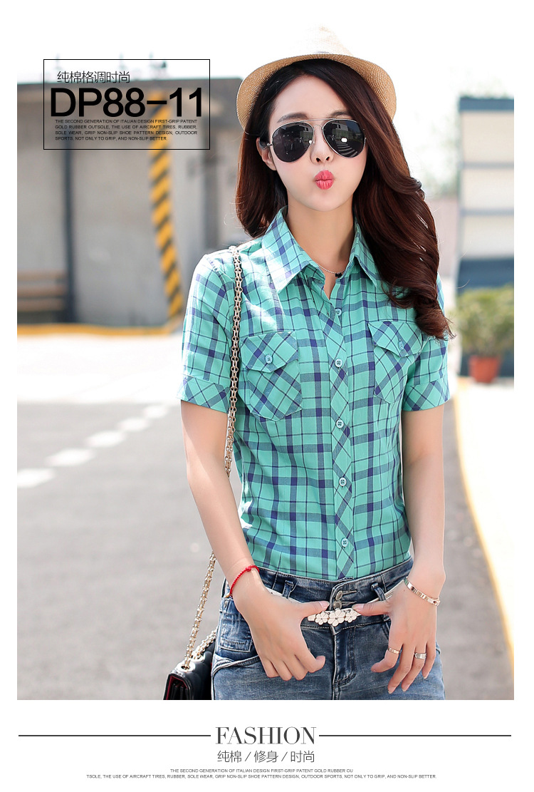 HTB1fYnCHFXXXXccXVXXq6xXFXXXu - New 2017 Summer Style Plaid Print Short Sleeve Shirts Women