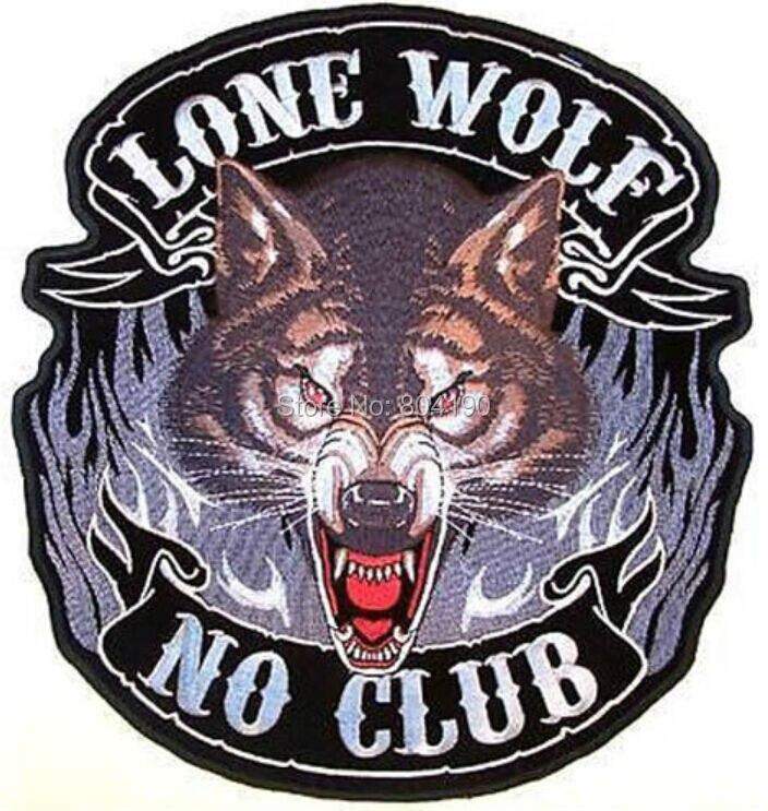"""11 """"grote Jumbo Lone Wolf Geen Club Jas Terug Patch Motorfiets Mc Geborduurde Patch Biker Vest Punk Kleding Ijzer Op Patch Ziekten Voorkomen En Genezen"""