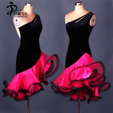 Sexy sleeveless Latin dresses for women dance costumes salsa tango Rumba oblique neck Ballroom Competition Dance Evening Dress