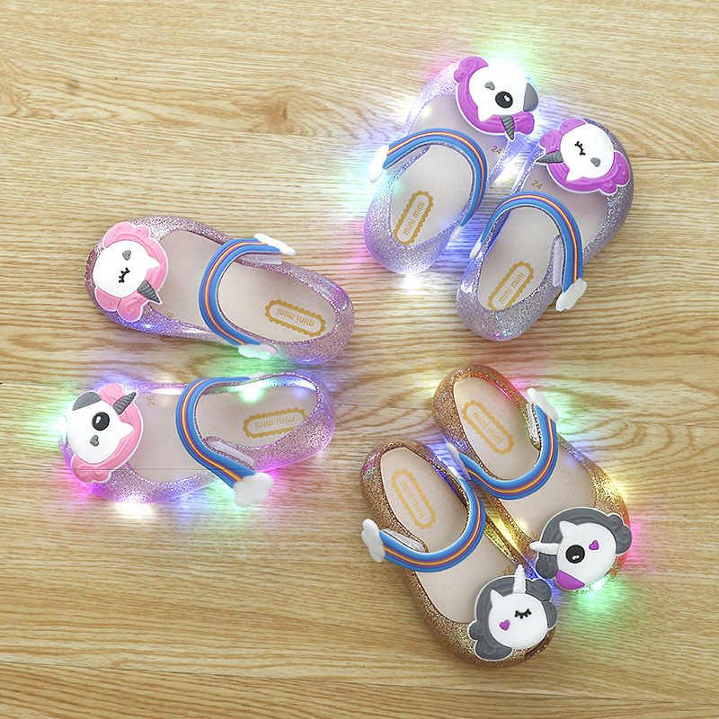 8585350ce7 2018 Hot Sale Girls Unicorn Shoes Kids Jelly Sandals LED Light Up Glitter  Shoes Little Girl Unicorn Party Unicorn Dress Sandal