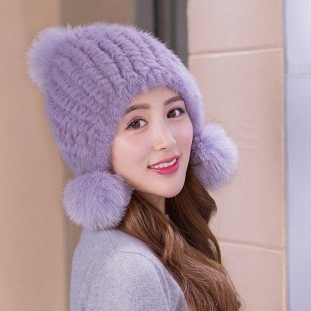 Korean Fashion Lovely Leather And Fur Weave Hats for women Colour Mink Hair Ma'am Fox Hair Winter Earmuffs