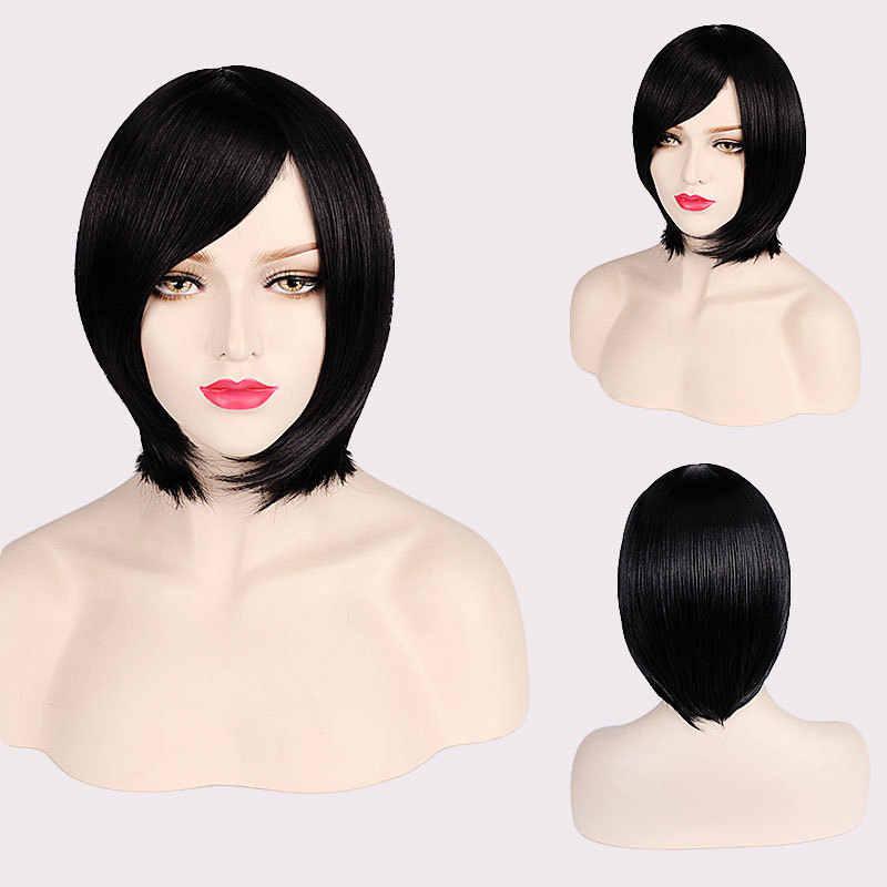 """Ccutoo 35 см/14 """"BOBO черные короткие прямые синтетические волосы Косплей Костюм парик длинная челка в наличии"""