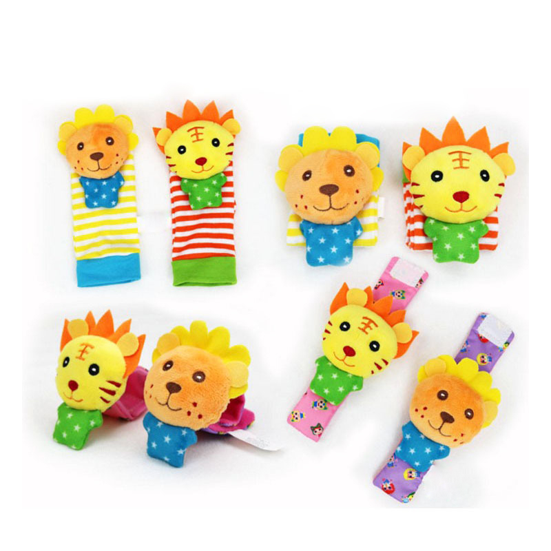 4pcs Infant Baby Wrist Rattle Toys Newborn Plush Socks Lion Owl Animal Development Hand Rattle Foot Socks  Baby Toys 0-12 Months