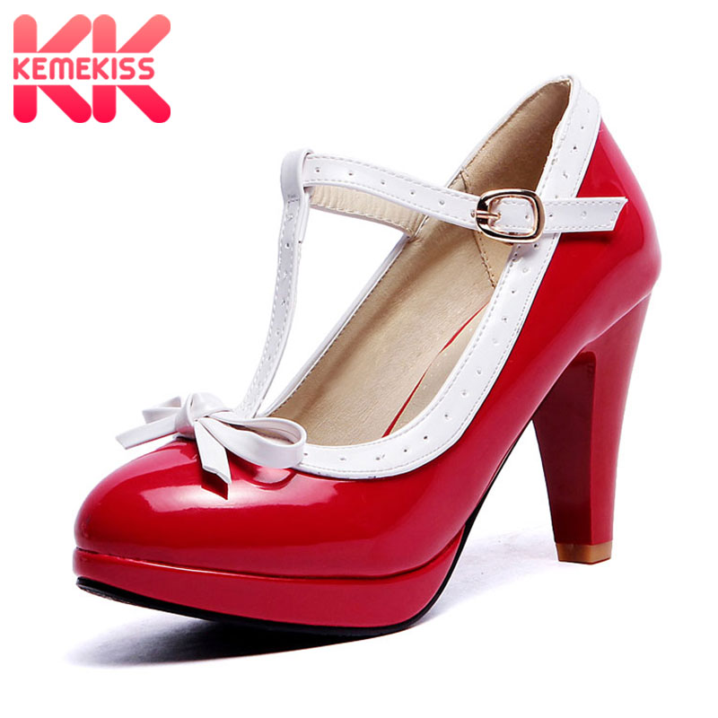 KemeKiss KemeKiss Plus Size 32-48 Women Summer heels shoes Woman t-strap bowknot pumps lady platform daily work dress Footwear