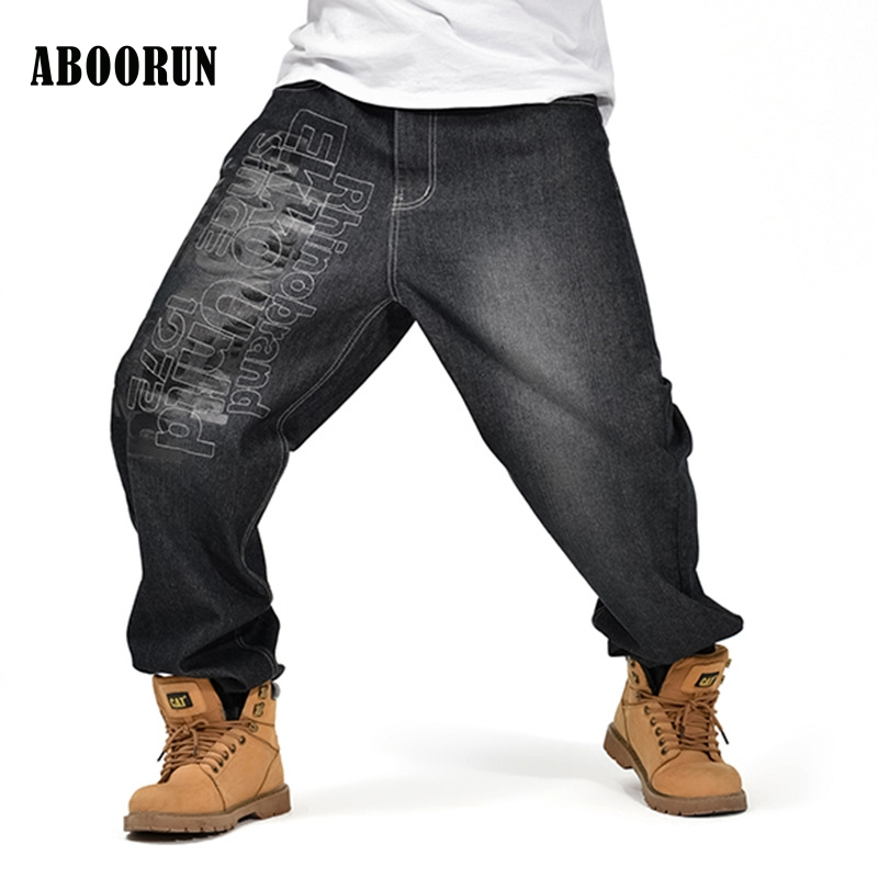 ABOORUN Black Baggy Jeans Men Hip Hop Designer Letter Printing Pants loose Style Plus Size 30-46 W2187 2017 men s black baggy jeans hip hop designer brand skateboard pants loose style plus size 30 46 hiphop rap jeans