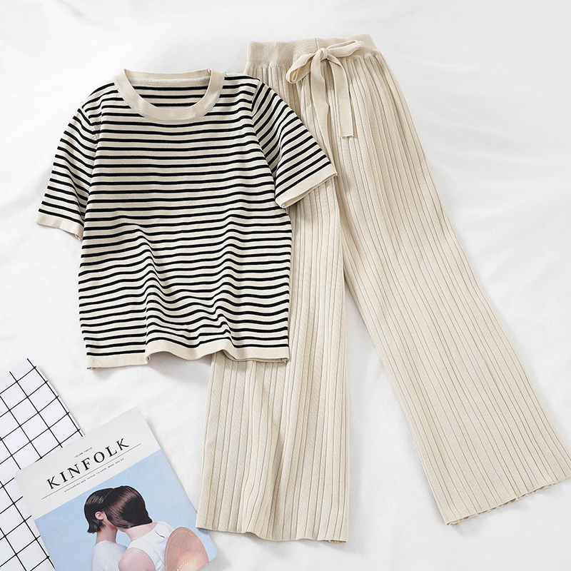 Chic New Loose Sweater Top High Waist Wide Leg Casual Pants Knitting Two Pieces Set Sweat Suits Matching Sets for WomenWomens Sets   -
