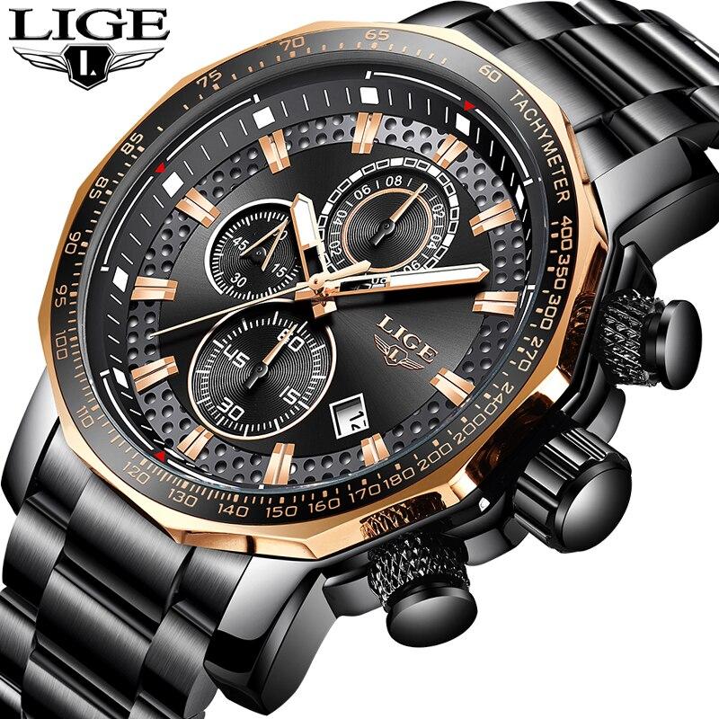 LIGE Gold Watch Men Top Brand Luxury Waterproof Calendar Wristwatch Gents Business Casual Stainless Steel Analogue