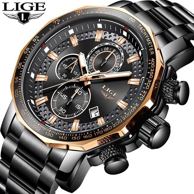 ליגע זהב שעון גברים למעלה מותג יוקרה Waterproof לוח שנה שעוני יד רבותיי עסקים מקרית נירוסטה אנלוגי גברים שעונים