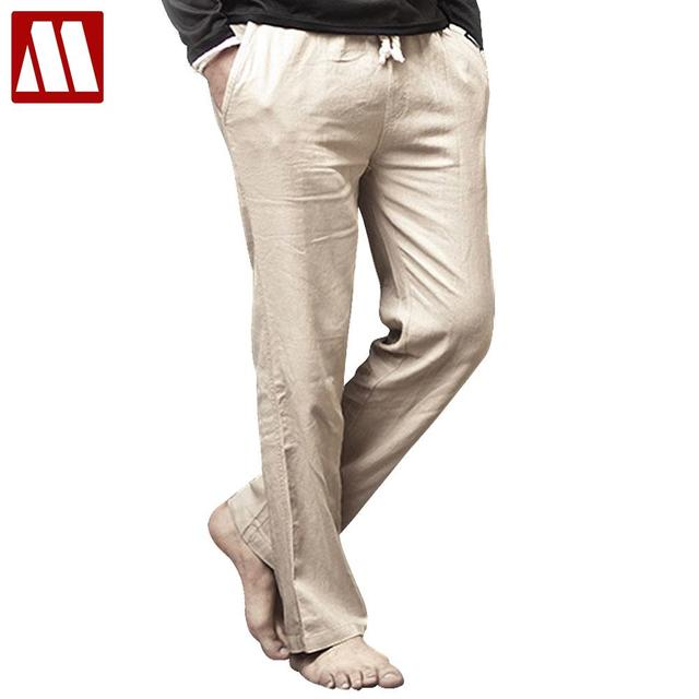 a65e36e243b07 US $15.22 49% OFF|High quality Mens Linen Pants 2019 Summer Style Joggers  Solid Color Casual Loose Cotton and Linen sweatpants Trousers For Men-in ...