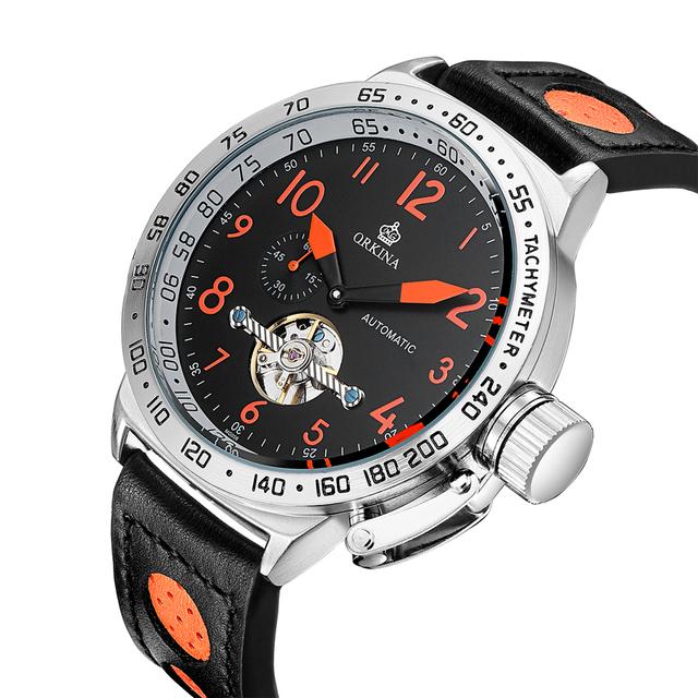 ORKINA Skeleton Tourbillon Mechanical Watch Men Automatic Classic Rose Gold Leather Mechanical Wrist Watches Reloj Hombre