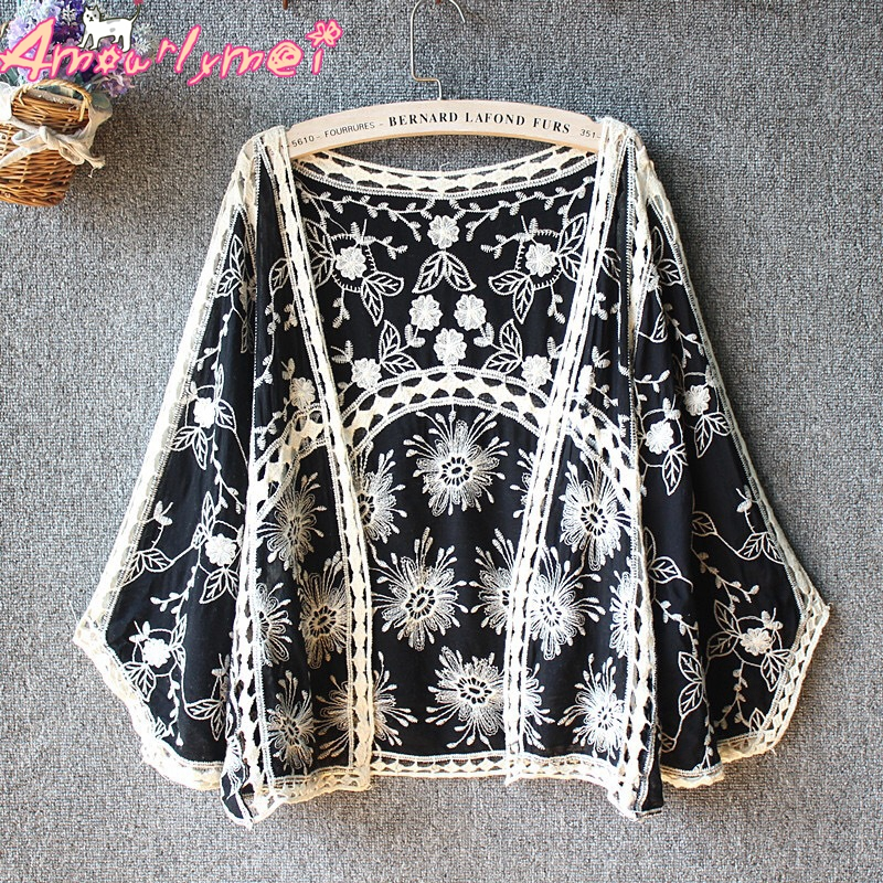 2019 Summer New Women's Mori Girl Vintage Hollow Out Embroidery Lace Loose Batwing Sleeve Kimono Cardigan   Blouse     Shirt   Tops