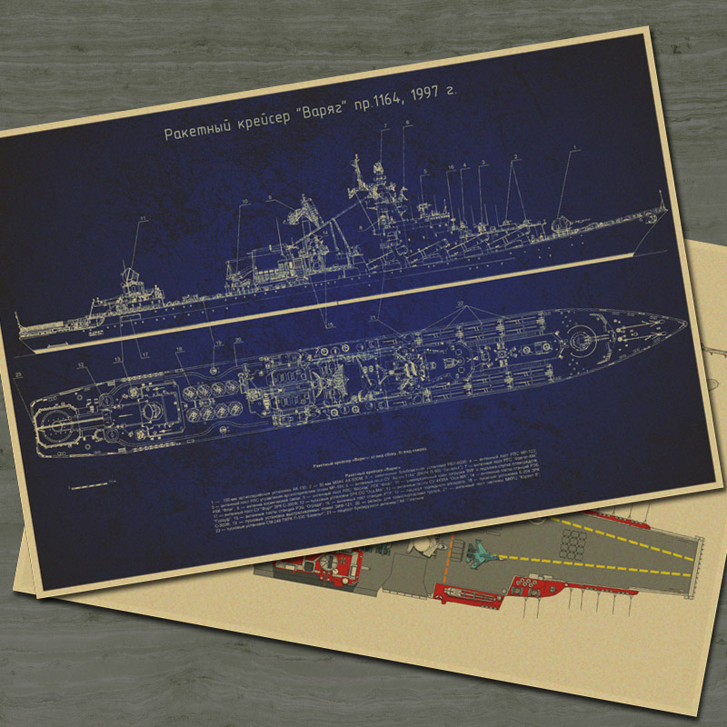 Vintage Army Aircraft carrier drawings old Paper Classical Movie Poster Retro Wall Sticker Home Decoration