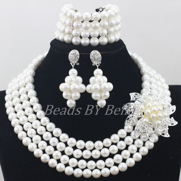 Shiny White Shell Beads Jewelry Nigerian Wedding Women Costume Beads Fashion Jewelry Necklace Bracelet Sets Free Shipping ABF791