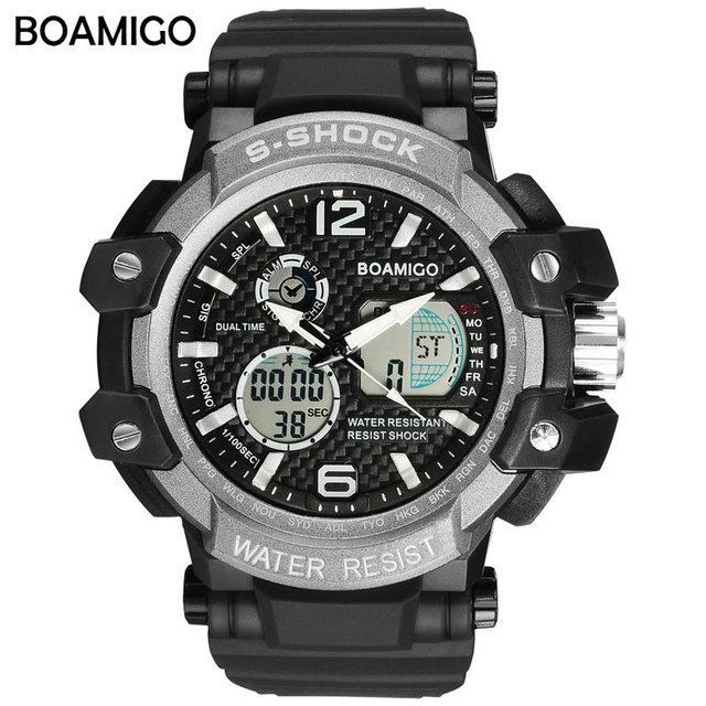 e3ad645645b S Shock Men Sports Watches BOAMIGO Brand Watches Man Digital Quartz Watches  Swim Wrist Watch LED Black Clock relogio masculino
