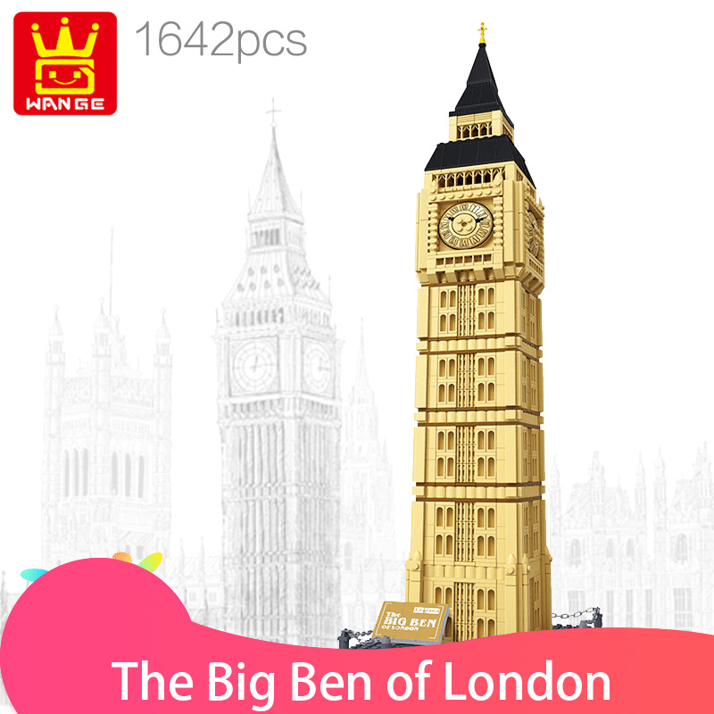 WANGE 8014 blocks 1642 pcs Famous Architecture series The Big Ben of London Building block educational block toys brinquedos wange louvre of paris building blocks set model small architecture series 2017 classic educational toys for children gifts