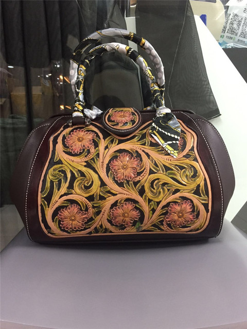 1db209df1c high quality handmade carved genuine leather women handbags diolevy brand  designer carve flower woman leather handbag