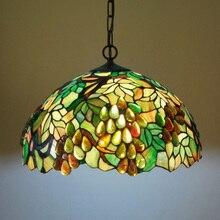 Vente chaude Tiffany Style multicolore verre mode raisin série suspension lampe D40cm E27 110-240 V chaîne pendentif lumières pour la maison