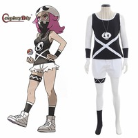 Cosplaydiy Pokemon Sun and Moon Cosplay Team Skull Grunts Female Cosplay Costume For Halloween with hat and mask Custom Made JT