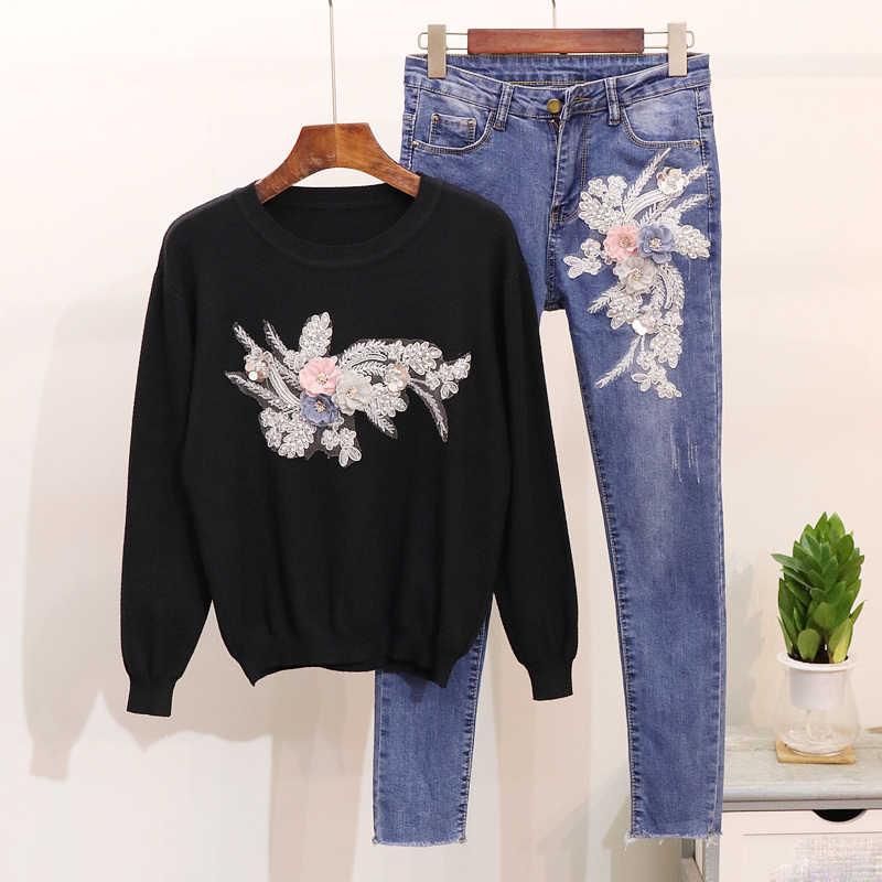 Осенние женские комплекты, женские повседневные комплекты из двух предметов, вышивка блестками, цветы, Повседневный Кардиган, топ + джинсовые костюмы, узкие джинсы, Женский комплект со штанами