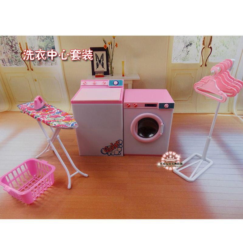 For Barbie Doll Furniture Accessories Plastic Toy Washing Machine Dry Cleaner Set Iron Hanger Clothes Pole Holiday Gift Girl DIY