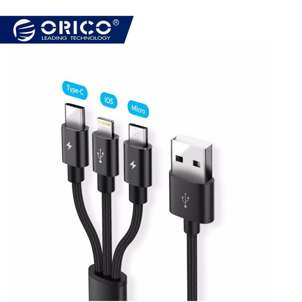 ORICO Micro für Beleuchtung typ c USB Kabel 3 in 1 Android Ladegerät Kabel für iPhone 7 6 6 sSamsung xiaomi schnelle lade 3A