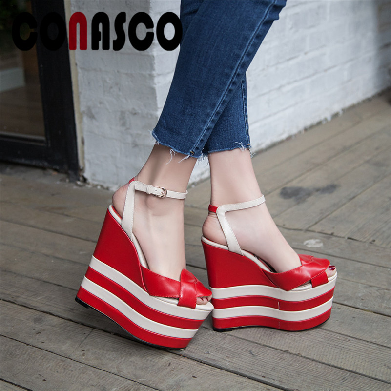 CONASCO Women Fashion Pumps New Classic High Heels Buckle Strap Sandals Sexy Wedge Sandals Prom Party Dress Elegant Shoes WomanCONASCO Women Fashion Pumps New Classic High Heels Buckle Strap Sandals Sexy Wedge Sandals Prom Party Dress Elegant Shoes Woman