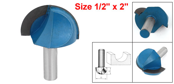 1pcs Wood Cutting Tool Straight Shank Dual Flutes Cove Core Box Router Bit 1/2 x 2 uxcell flutes cutting round straight