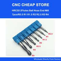 free shipping 7pcs R0.5 R1 R1.5 R2 R2.5 R3 R4 Real HRC55 Two 2 flutes ball nose end mill milling cutter CNC router bit