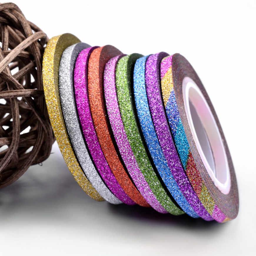 1Mm 12 สีเล็บGlitter Stripinเทปชุดสติกเกอร์ศิลปะตกแต่งDIYเคล็ดลับสำหรับเล็บเจลRhinestones decorat 2019 ใหม่