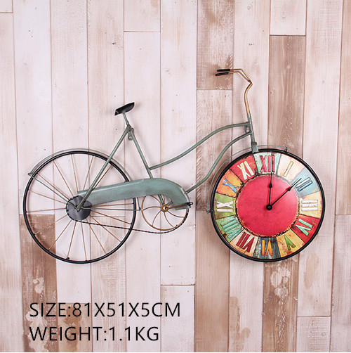 American Creative Bicycle Wall Clock Personality Bike Design Hanging Watch Retro Cycle Ornaments Home Decor Bar Decoration