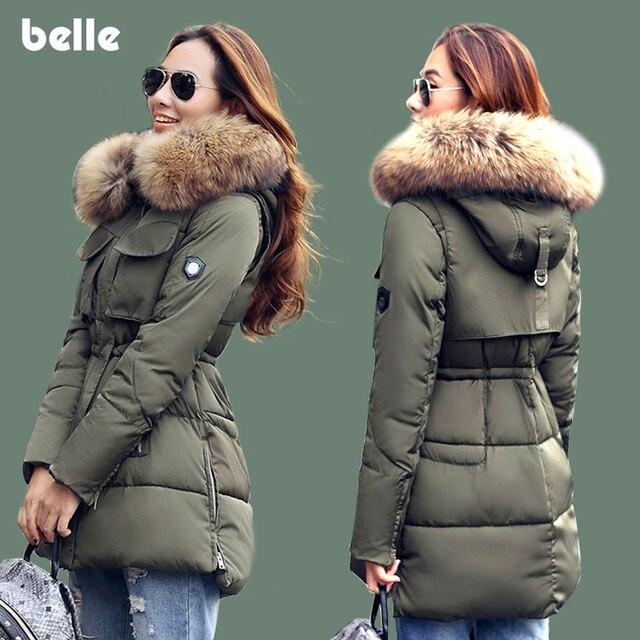 Распродажа Зимняя Куртка Женщины Большой Толщиной Реального Енота Меховым Воротником С Капюшоном Куртки Пальто Для Женщин Пиджаки Куртка